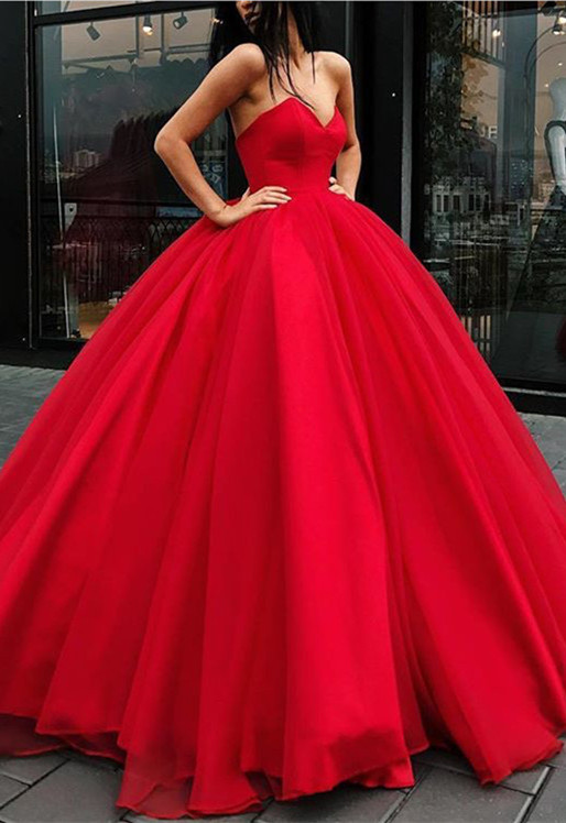 Gorgeous Sweetheart Red Evening Dresses | 2020 Ball Gown Tulle Prom Dresses BC1073
