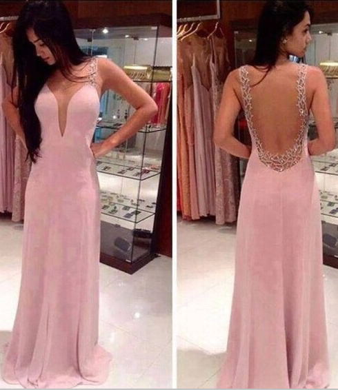 2020 Prom Dresses Deep V Neck Straps Pink Sheer Back Beading Sweep Train Evening Giowns BA2137