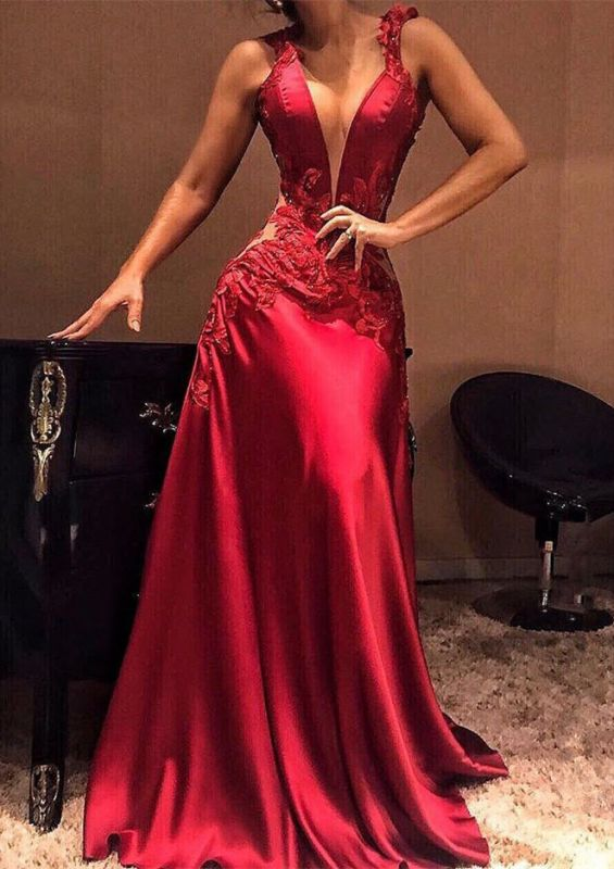 Sexy V-Neck Sleeveless 2020 Prom Dresses | Long Appliques Mermaid Evening Gowns