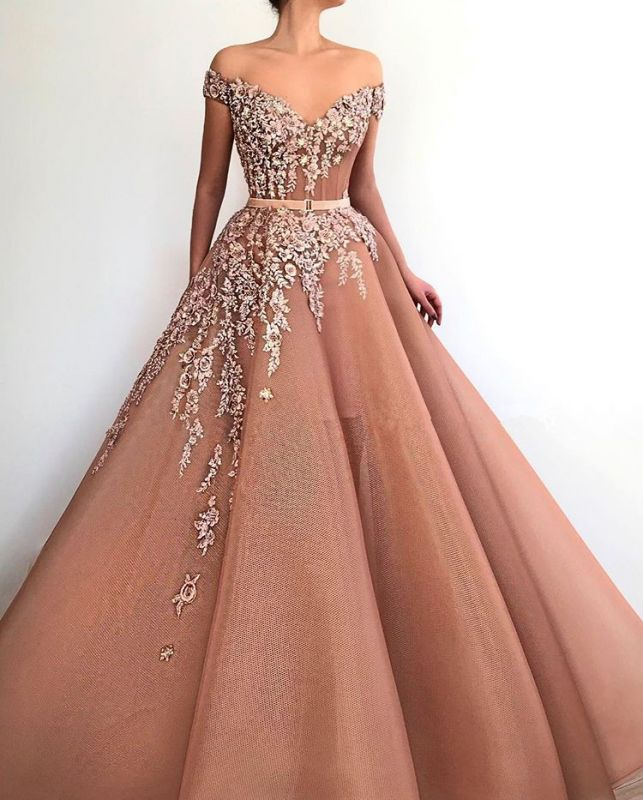Stunning Off-the-Shoulder Appliques Evening Dresses | 2020 Tulle Long Prom Gowns On Sale BC1371