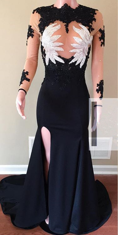 Elegant Long Sleeve Prom Dresses | 2020 Mermaid Lace Evening Gowns On Sale