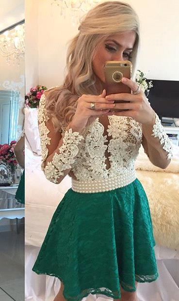 Modern Long Sleeve Pearls 2020 Homecoming Dress Lace Pearls On Sale BT0