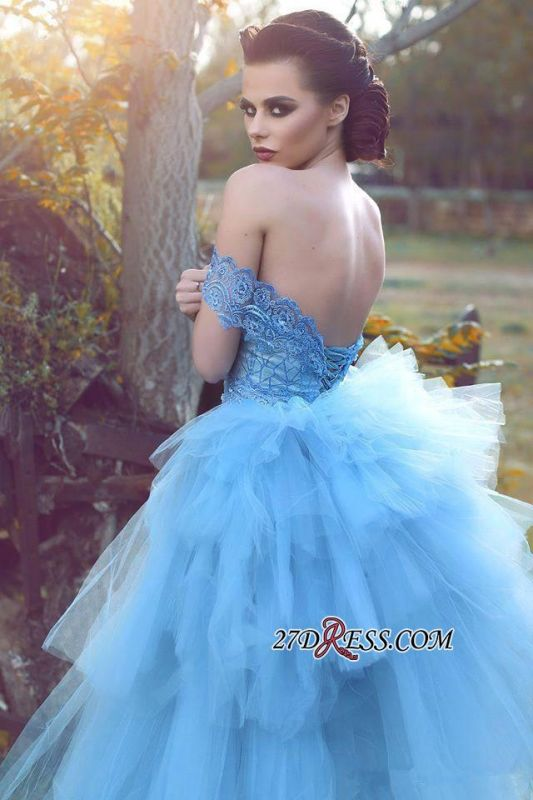 Blue Glamorous Off-the-shoulder Lace Tulle Evening Dress