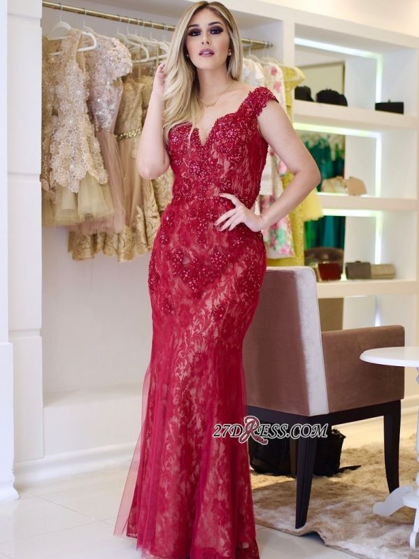 Red lace prom dress, 2020 mermaid evening gowns