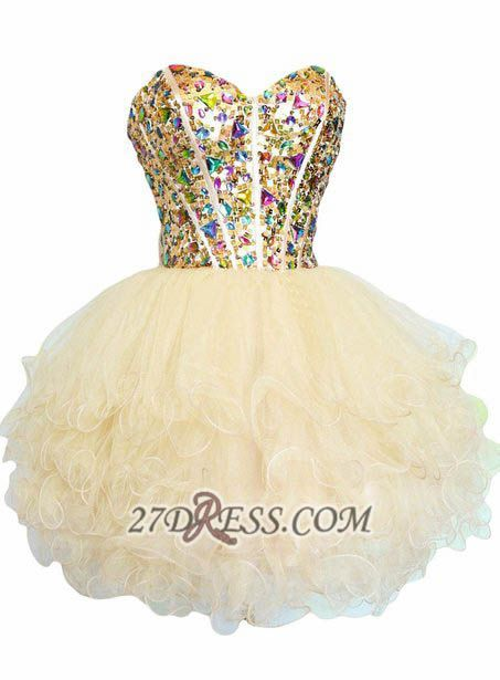Luxurious Sweetheart Sleeveless Cocktail Dress Colorful Crystals Lace-up Organza Short Homecoming Dress