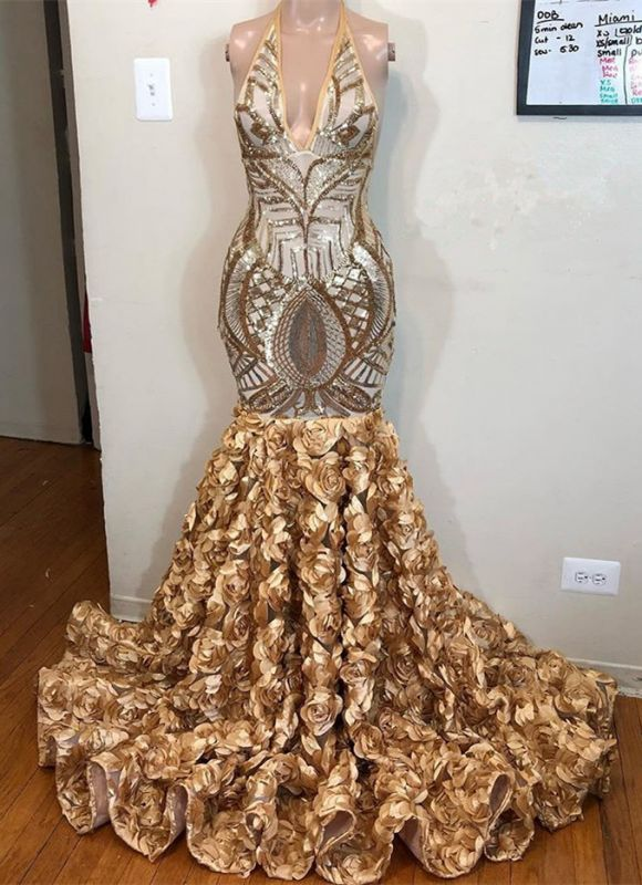 Glamorous Gold Sequins V-Neck Prom Dress   2020 Mermaid Flowers Bottom Evening Gowns BC1764