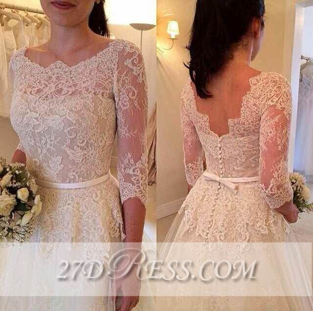 3/4 Sleeve Lace A-Line Wedding Dresses Tulle Bowknot Simple Bridal Gowns