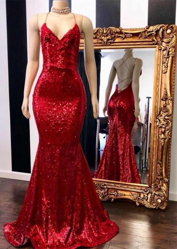 Sexy Red Sequins Prom Gowns | 2020 Spaghetti Straps Mermaid Evening Gowns Online BC0420