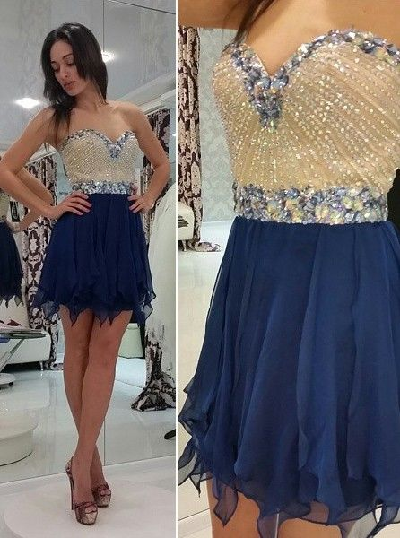 Timeless Sweetheart Chiffon Short Homecoming Dress 2020 Crystal Beads Party Gowns