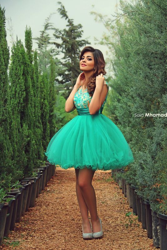 Newest Tulle Princess Short Green Homecoming Dress With Appliques