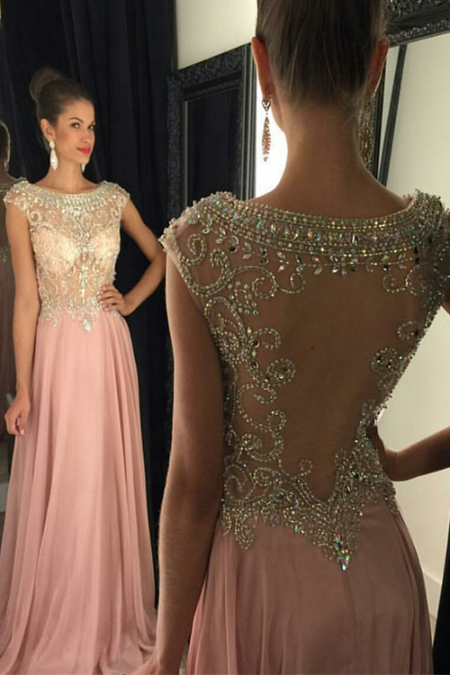 Stunning Scoop Beadings Crystal Evening Dress 2020 Sleeveless Long Chiffon Party Gown