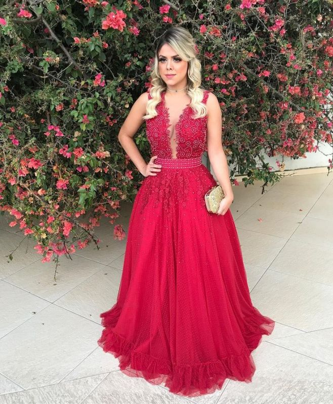 Red Sleeveless Lace 2020 Evening Dress With Beadings Long BMT BA7607
