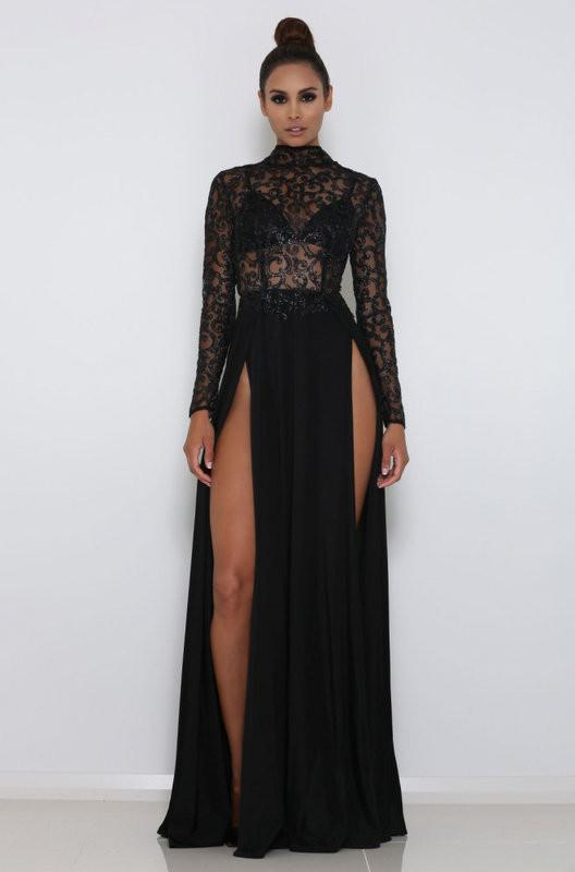 Sexy High Neck Long sleeves Front Split Evening Gown | Black Lace Sequins Floor-Length Prom Dress