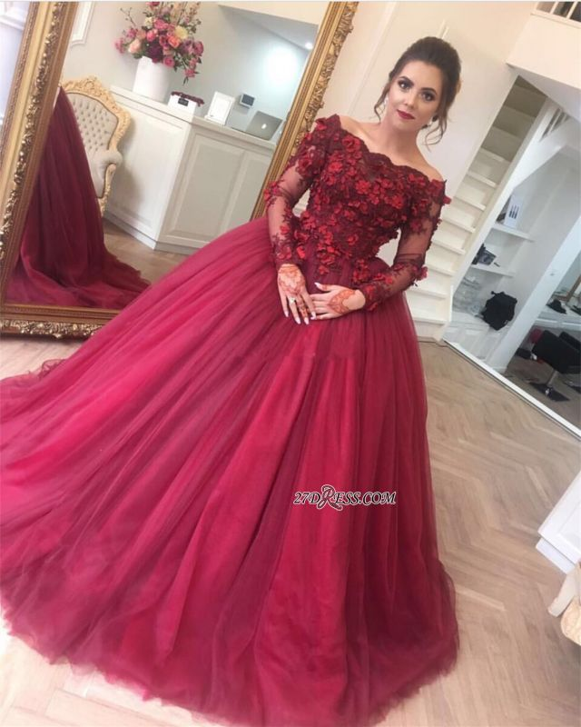 Gorgeous Ball Gown Applique Long Sleeve Burgundy Off-the-Shoulder Prom Dresses BA7967
