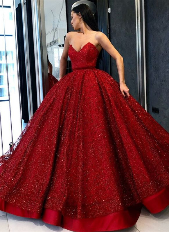 Gorgeous Red Sweetheart Evening Gowns | 2020 Sequins Ball Gown Prom Dress BC0890
