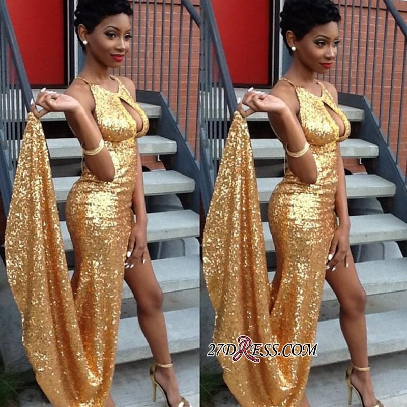 2020 Sexy Newest Side-Slit Sequined Gold Halter Evening Gown qq0100 BK0