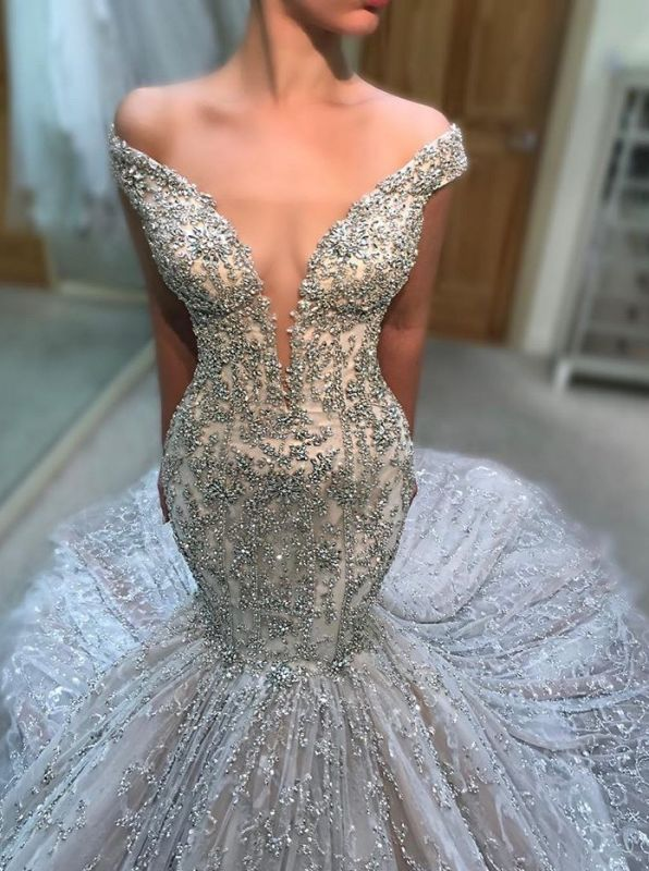 2020 Gorgeous Off-The-Shoulder V Neck Sleeveless Wedding Dress | Mermaid Beading Appliques Bridal Gown On Sale
