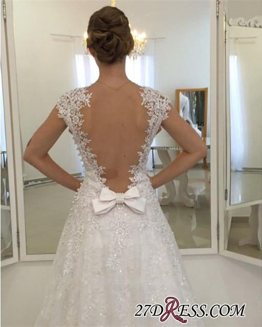 Cap-Sleeve Lace-Appliques Delicate Bow Long White Wedding Dress