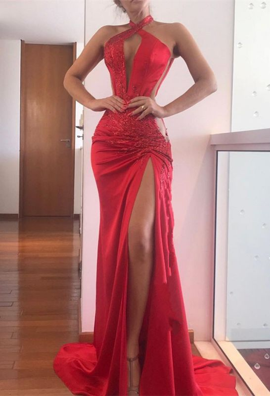 Elegant Halter Red 2020 Prom Dresses | Sleeveless Lace Appliques Evening Gowns With Slit BC1161