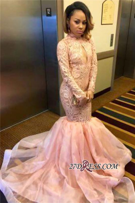 Sexy Pink Mermaid Keyhole Tulle Long-Sleeve High-Neck Prom Dress