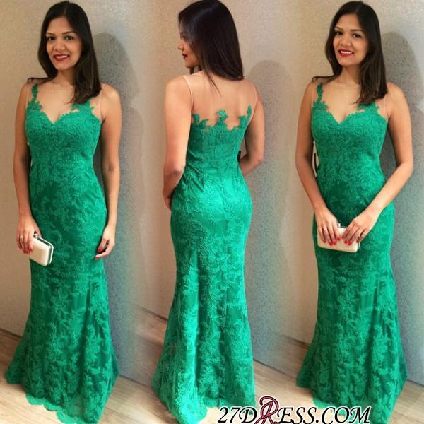 Lace Long Elegant Mermaid Sleeveless Floor-length 2020 Prom Dress
