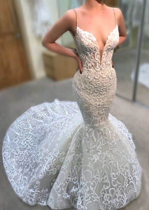 Elegant Spaghetti Strap Sleeveless V Neck Mermaid Bridal Gown | 2020 Modest Lace Appliques Wedding Dress