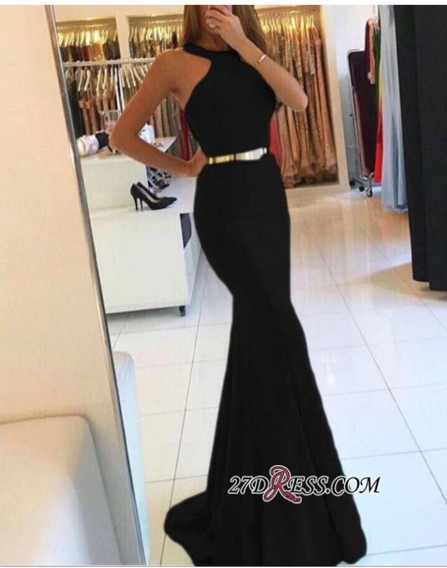 Mermaid Sweep-train Sexy Halter Evening Dresses