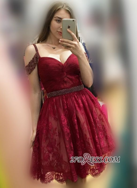Lace Burgundy Off-the-Shoulder Sexy Bead A-line Homecoming Dresses