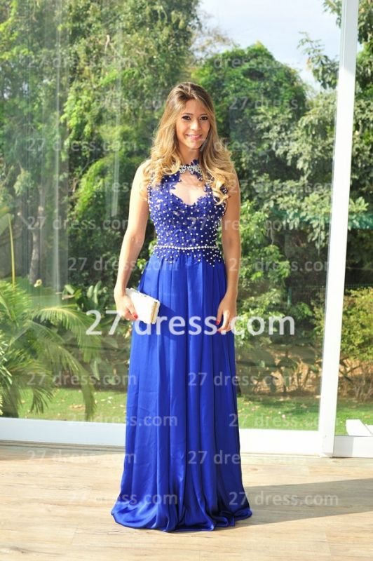 Chiffon Royal Blue Prom Dresses 2020 New Arrival Gowns for Evenings High Collar Sheer Back Lace Pearls Long Vestido Long