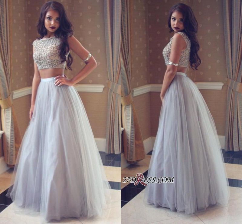 Long Tulle Beadings Two-Pieces Beautiful Prom Dress
