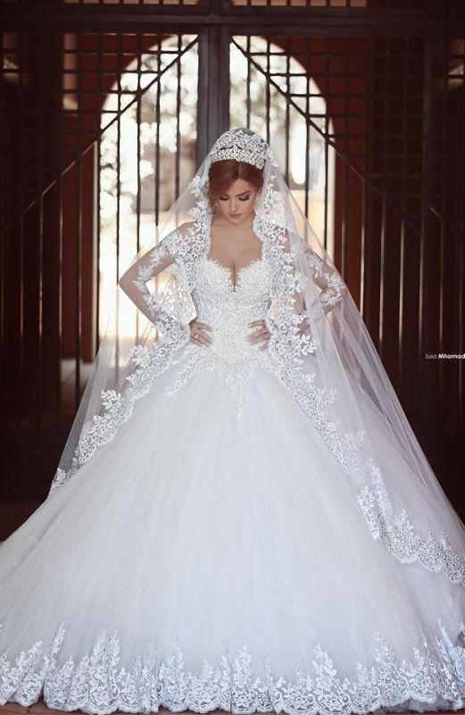 Gorgeous Long Sleeve Lace Ball Gown Wedding Dress 2020 With Train On Sale