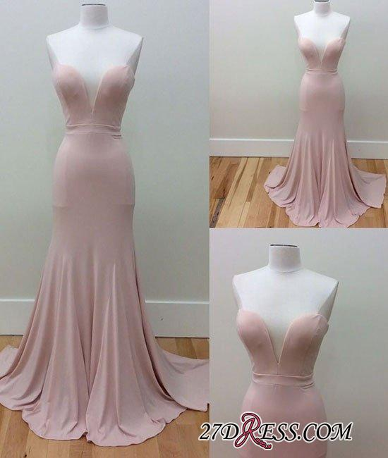 Pink Sleeveless Long Sweetheart-Neck Simple Mermaid Prom Dresses