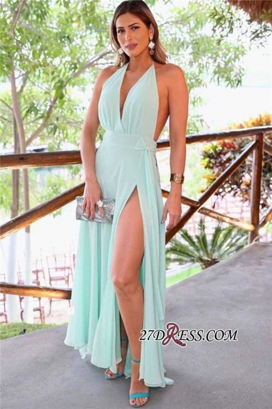 A-line Sash Front-slit Ankle-length Sexy Halter Prom Dress