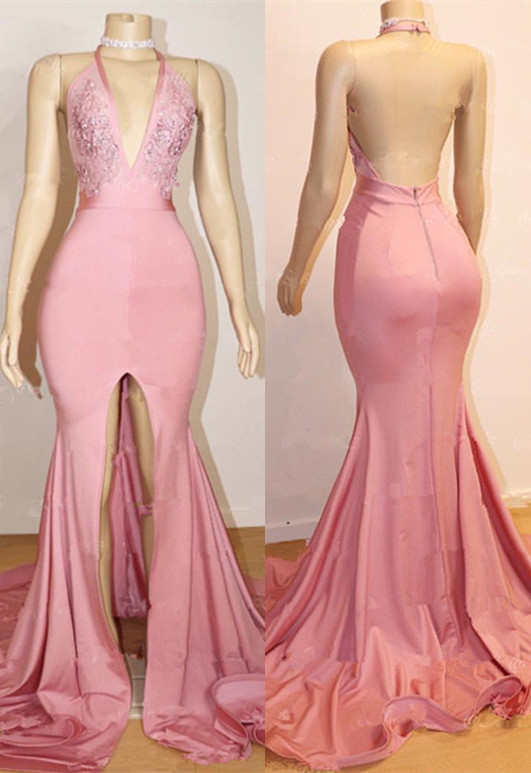 Elegant Pink 2020 Prom Dress | Backless Lace Evening Gown With Slit BA9087