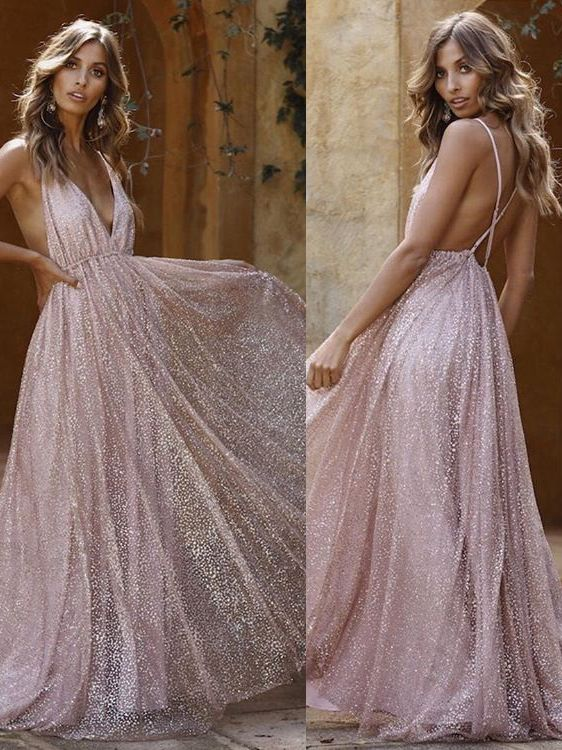 Sexy Pink Sequins A-Line Prom Dresses | Spaghetti Straps Backless Evening Dresses BC1625