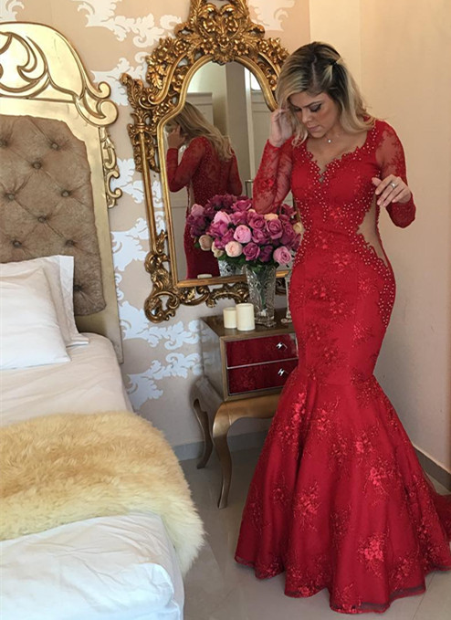 Elegant Long Sleeve Red 2020 Evening Dress Lace Beads Mermaid Party Dress BMT BC0020
