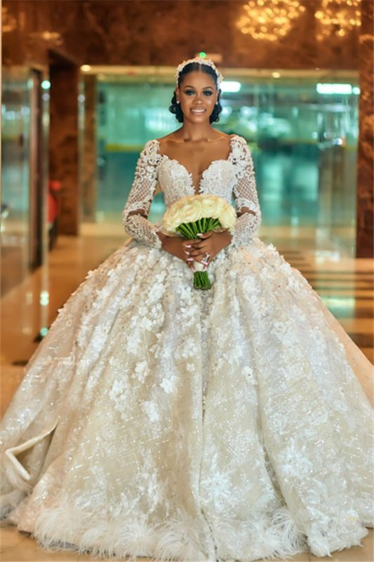 Gorgeous Floral Beading Appliques Ball Gowns Long Sleeve Bridal Gown