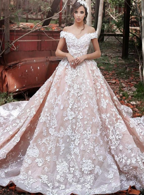 Glamorous Off-the-Shoulder 2020 Pink Wedding Dress | Ball Gown Lace Appliques Bridal Gowns