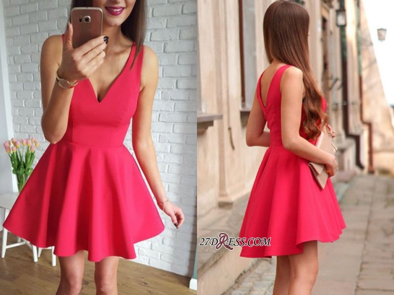 Sleeveless A-line Red Short Simple Straps Homecoming Dress