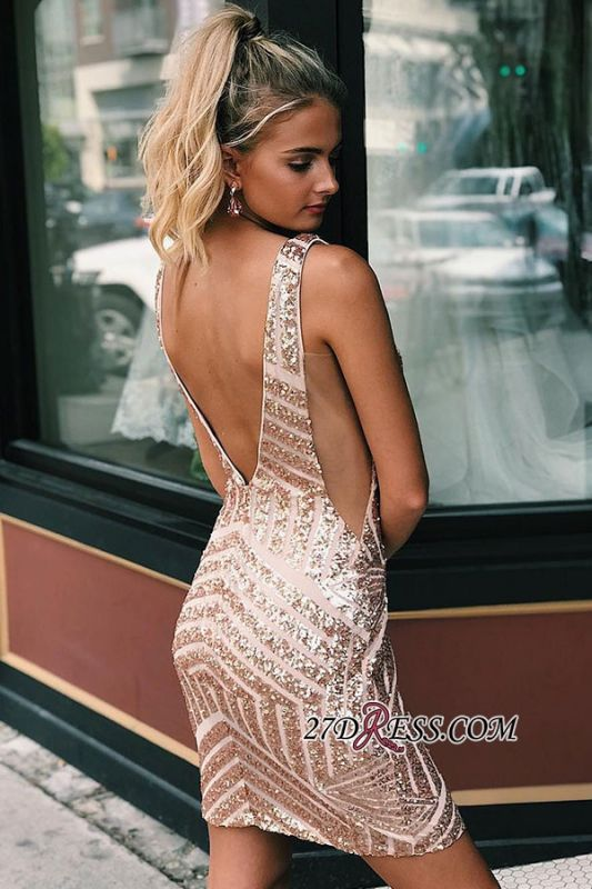 V-neck Alluring Sheath Sequined Cocktail Dresses