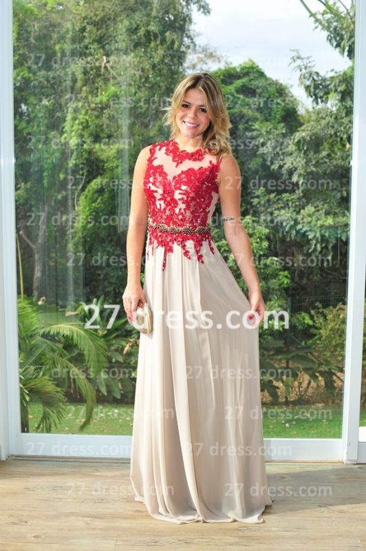 2020 Red Lace Womens Evening Party Gowns Chiffon Long Applique New Design High Collar Prom Dresses