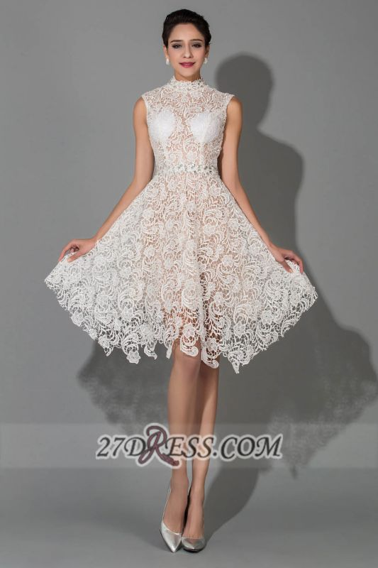 Elegant Halter Sleeveless Lace Homecoming Dress Knee-length With Beadings