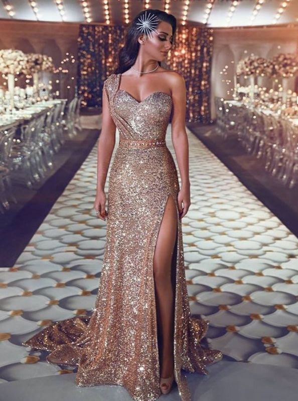 Gorgeous One Shoulder Sequins Evening Gowns | 2020 Mermaid Prom Dress With Slit BC0131