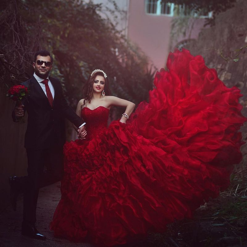 Sexy red Sweetheart Organza Prom Dresses 2020 Appliques Ball Gown TD023