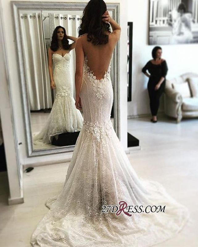 Mermaid Sweetheart Sweep-Train Backless Sexy Lace Wedding Dresses