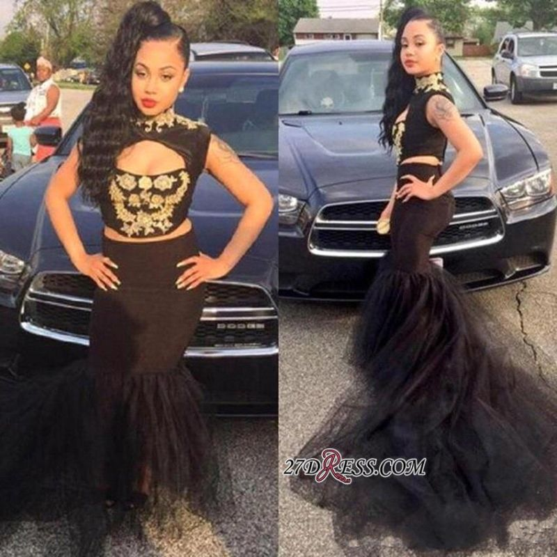 Black Mermaid Two-Pieces High-Neck Sexy Sleeveless Prom Dress