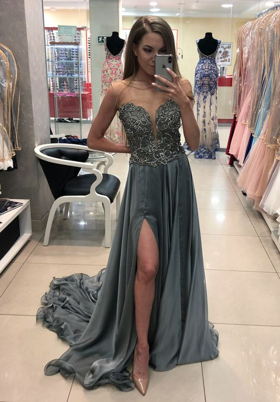 Chic Bateau Sleeveless Prom Dress | Crystal Evening Gowns With Split