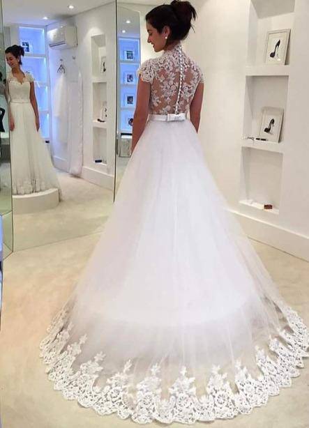 Dreamy Cap Sleeve Lace 2020 Wedding Dress Zipper Button Back Bridal Gowns