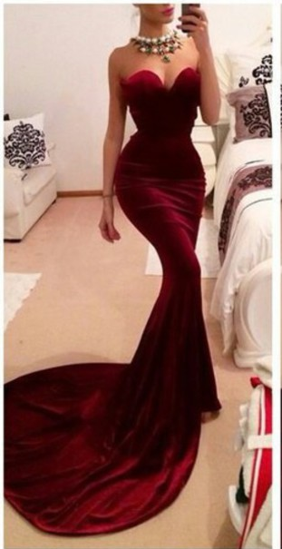 New Arrival Red Sweetheart Prom Dresses Sexy Memmaid Evening Gowns