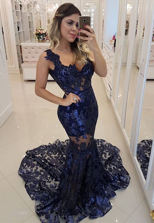 Modern Beading Lace Mermaid Straps Evening Dress | Dark Navy Party Gown